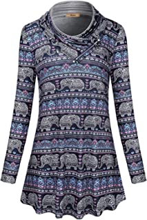 Miusey Womens Long Sleeve Cowl Neck Pullover Sweatshirt Casual Tunic Tops