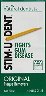 Stim-U-Dent Plaque Removers, Mint Flavor 4 - 25 packs [100 picks] (Pack of 10)