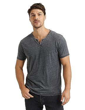 Lucky Brand Men's Venice Burnout Notch Neck Tee Shirt