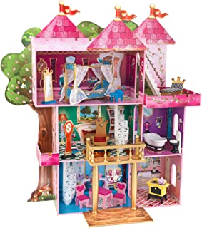 """KidKraft Storybook Mansion Three-Story Wooden Dollhouse for 12"""" Dolls with 14Piece Accessories, Multi,,48 x 19.25 x 52.88 ..."""