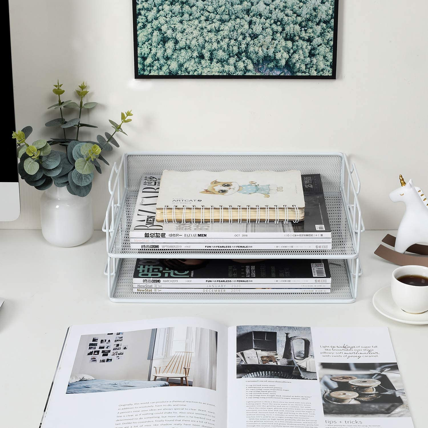 EasyPAG Mesh 2 Tier Stackable A4 Filing Trays Office Desk Tidy File Holder Magazine Storage Paper Organiser,Silver