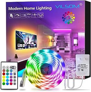 ViLSOM Led Strip Lights 16.4ft RGB 5050 LEDs Color Changing Light Strip Kit with Remote and 12V Power Supply Led Lights for Bedroom, Room, TV, Kitchen and Home Decoration Bias Lighting