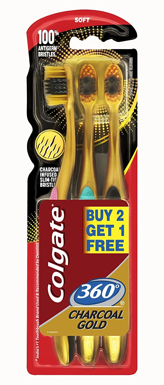気分集団贅沢なColgate 360 Charcoal gold (Soft) Toothbrush (3pc pack)