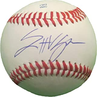 Los Angeles Dodgers Scott Van Slyke Autographed Hand Signed Baseball with Proof Photo of Signing and COA, Doosan Bears