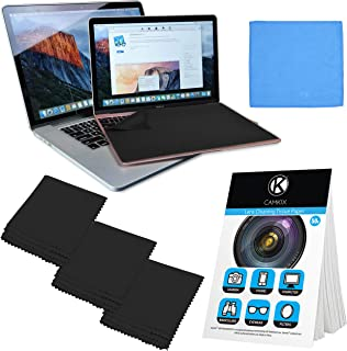 "Camkix Microfiber Cover Cloth Cleaning Set - Compatible with Apple MacBook Pro (15-16"") - 4x Keyboard Liner Cloth, 1x Double Sided Cloth and 1 x Lens Cleaning Paper Tissue Booklet"