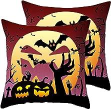 Gloral HIF Pumpkin Bat Red Throw Pillow Covers 2 Pcs Cotton Linen Pillowcase for Car 18 x 18