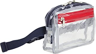 """Fashion Clear Fanny Pack, Stadium Security Approved Belt Bag with Front Easy Access Pocket (Expandability 27"""" to 48""""), Clear/Navy with Red"""