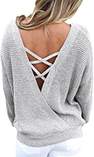 Women's Long Sleeve Criss Cross V Neck Knitted Sweater...