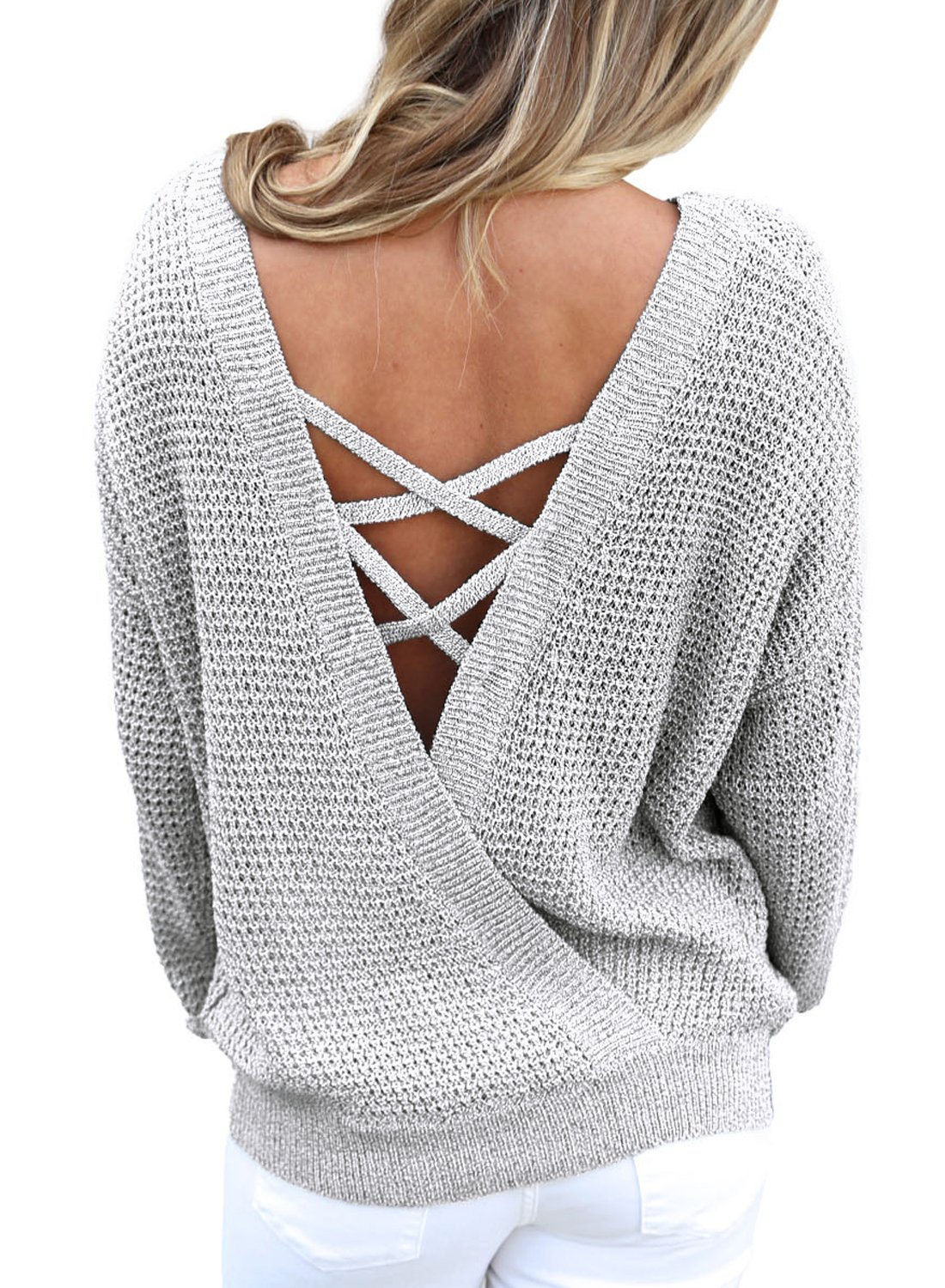 Women's Long Sleeve Criss Cross V Neck Knitted Sweater Backless Loose Jumper Sweaters