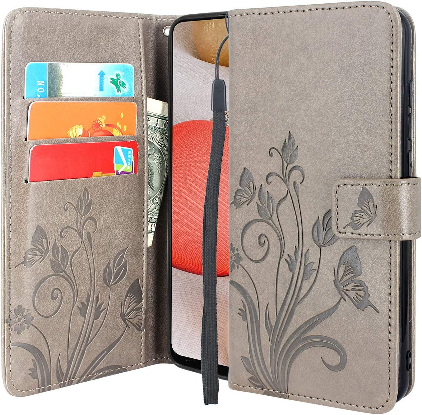 Lacass Floral Butterfly PU Leather Flip Wallet Case Cover Kickstand with Card Slots and Wrist Strap for Samsung Galaxy A42 5G (Gray)