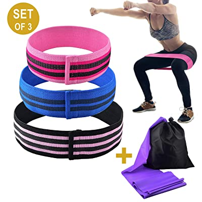 Hip Resistance Bands Non Slip Booty Exercise Lo...