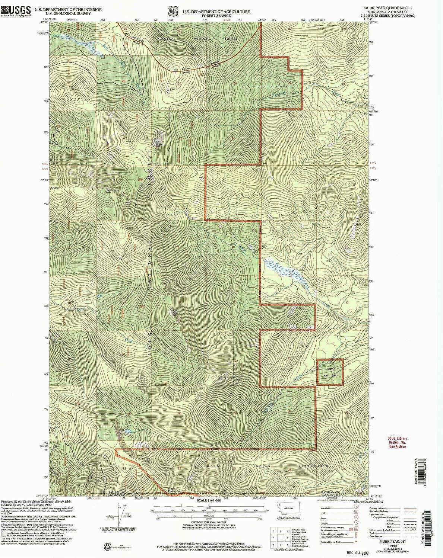 Murr Peak MT topo map, 1 24000 Scale, 7.5 X 7.5 Minute, Historical, 1999, Updated 2003, 27 x 22.1 in