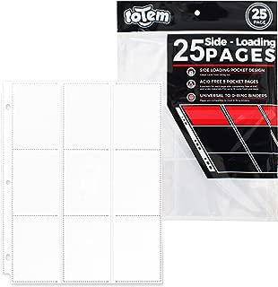 Totem World 25 Side Load 9-Pocket Pages for Pokemon, Magic, YuGiOh Card Holder - Fits 3 Ring Binder