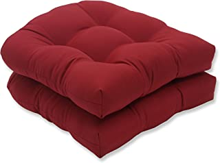 Pillow Perfect Pompeii (Set of 2) Wicker Seat Cushions, Red Solid