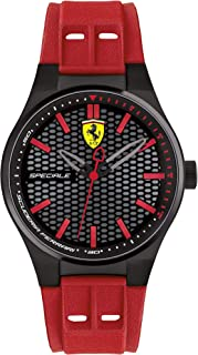 Ferrari Mens Quartz Watch, Analog Display and Silicone Strap 840010