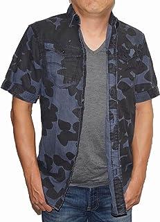 ジースターロウ G-STAR RAW 半袖シャツ D0261 メンズ ネイビー ブラック