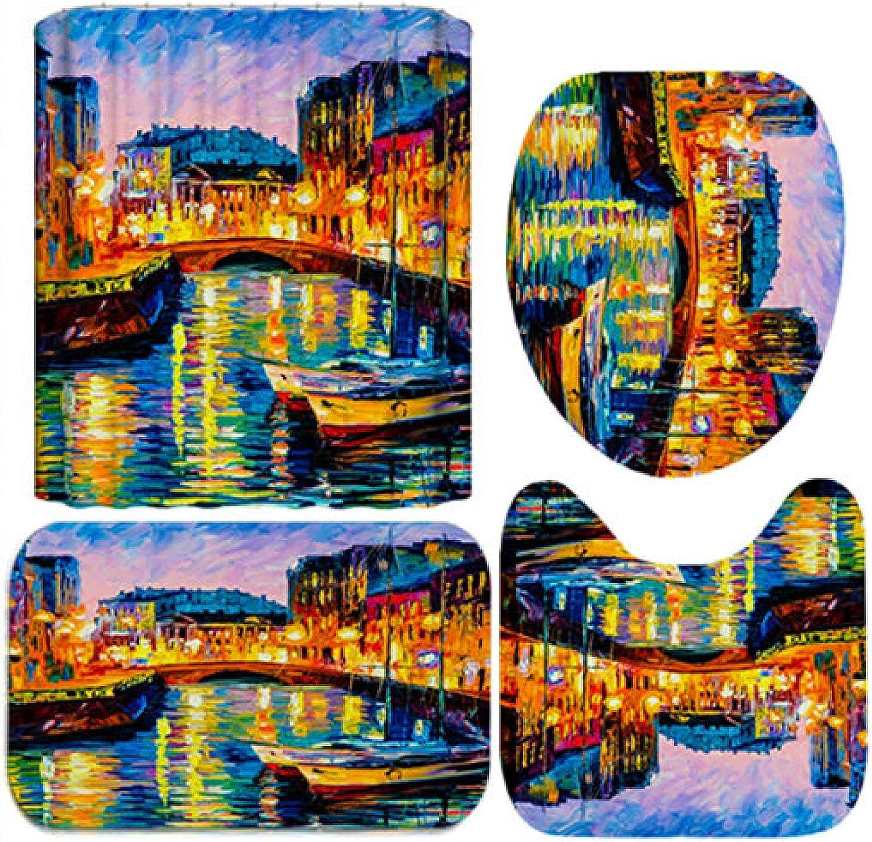 Kansas City Mall ZHEXI Ranking TOP18 Oil Painting Landscape Flannel Cover Bath mat Carpe Toilet