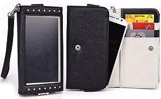 Black/Light Gray Window Wristlet Wallet Case for Samsung Sl, R, Galaxy Fascinate, Focus S, Avant, Core Plus, Alpha, Express 2, Star 2 Plus, Win Pro, Galaxy Ace Style LTE G357, Galaxy Alpha Smartphone