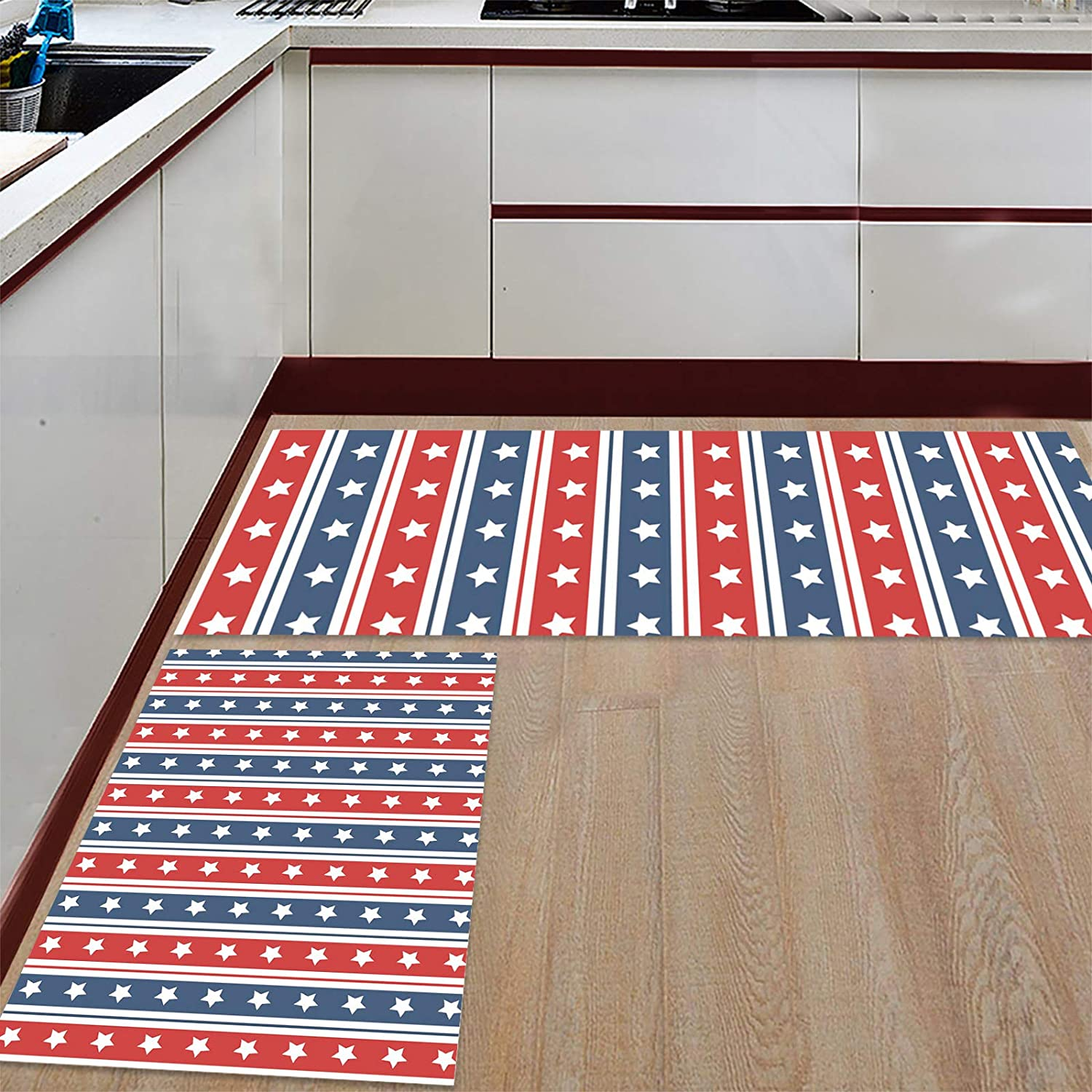 Greday Anti Fatigue Set of 2 Rug Opening large release sale Stripe Star Kitchen Sets Product Indepe