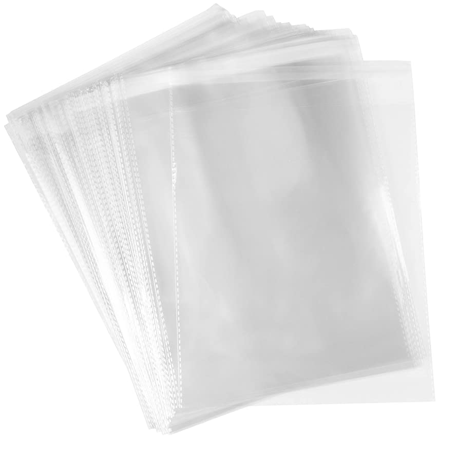 Cellophane Bags - 100-Pack Clear Resealable Cellophane Bags, 8.7 x 11.8 Inches, 3 Mil Sealable Cello Bags for Packaging 8x10 Photo Framing Mats, Greeting Cards, Postcards, Letters