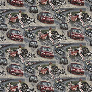 A012 Racing Cars Pit Crew Finish Checkered Flag Race Track Themed Tapestry Upholstery Fabric by The Yard