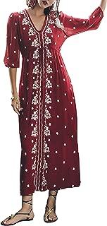 R.Vivimos Womens Boho Floral Embroidered Casual Drawstring Tie Cotton Long Dresses