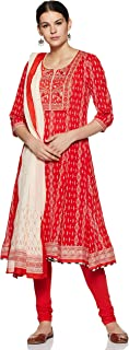BIBA Women's Synthetic Straight Salwar Suit Set