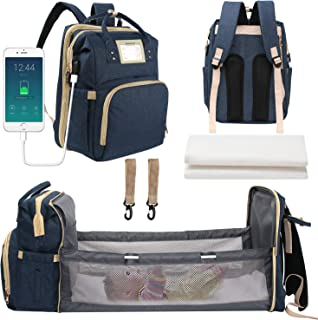 3 in 1 Nappy Bag Changing Station with USB Charging Port,Foldable Waterproof Baby Bed Backpack,Multifunction Travel Back P...