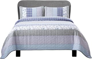 Soul & Lane Prince Charming 100% Cotton 3-Piece Real Patchwork Quilt Set (King) | with 2 Shams Pre-Washed Reversible Machine Washable Lightweight Bedspread Coverlet