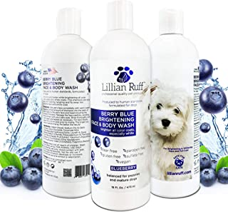 Lillian Ruff Berry Blue Brightening Face and Body Wash for Dogs and Cats - Tear Free Blueberry Shampoo - Remove Tear Stain...