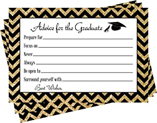 Graduation Advice Cards for the Graduate, Set of 25 - Party Games for High School or College Grad - Class of 2019 Gold and Black Party Supplies, Perfect Game for Card Box or Guest Book Alternative