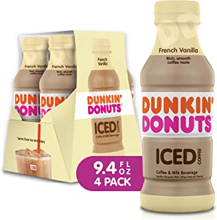 Dunkin Donuts Iced Coffee Beverage, Vanilla, 9.4 Fluid Ounce (Pack of 4)