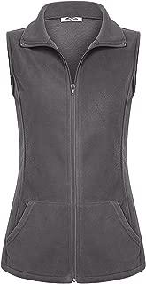 Women's Casual Zip Up Front Lightweight Fleece Vest with Pockets