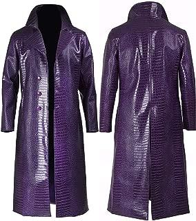 Men's Purple Trench Coat Crocodile Pattern Leather Cosplay Halloween Costume