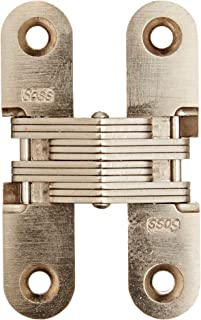 SOSS 208 Zinc Invisible Hinge with Holes for Wood or Metal Applications, Mortise Mounting, Satin Nickel Exterior Finish