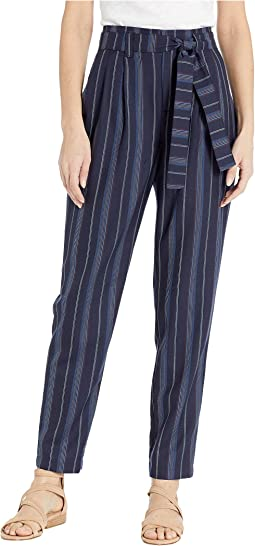 Stripe Belted High-Waisted Pants