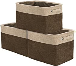 (Brown) - Sorbus Storage Large Basket Set [3-Pack] - 15 L x 10 W x 9 H - Big Rectangular Fabric Collapsible Organiser Bin ...