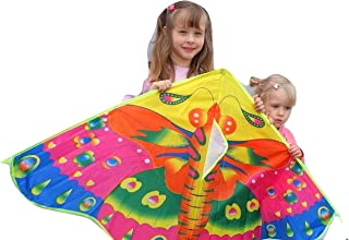 SoGreat Huge Colorful Butterfly Kite for Kids, Long, Flowing Tails | Beautiful Colors and Durable Polyester Fabric | Includes Plastic Handle and 30m of String | Girls, Boys