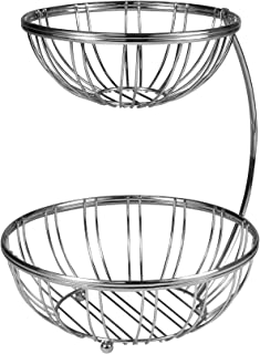 Spectrum 54770 Contempo 2-Tier Server Sturdy Steel Stacked Fruit Bowls, Produce & Vegetable Stand, Chrome