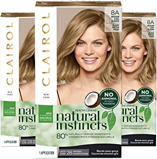 Clairol Natural Instincts Semi-Permanent, 8A Medium Cool Blonde, Linen, 3 Count