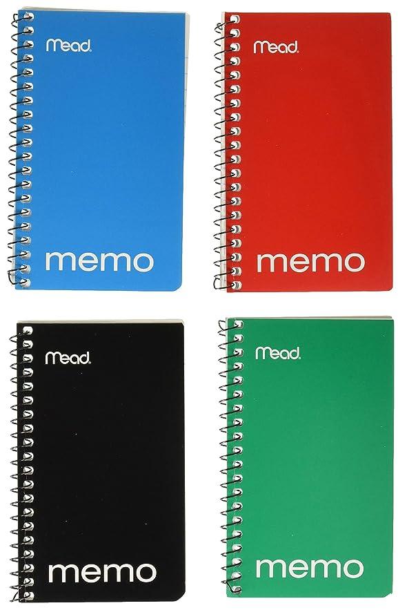 ダーツ佐賀事故12 Pack Memo Book, College Ruled, 13cm x 7.6cm, Wirebound, 60 Sheets, Assorted by MEAD