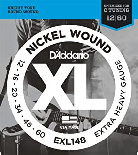 D'Addario XL Nickel Wound Electric Guitar Strings, Extra Heavy Gauge – Round Wound with Nickel-Plated Steel for Long Lasting Distinctive Bright Tone and Excellent Intonation – 12-60, 1 Set