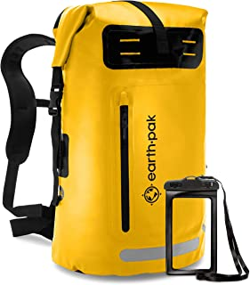 Waterproof Backpack: 35L / 55L Heavy Duty Roll-Top Closure with Easy Access Front-Zippered Pocket and Cushioned Padded Back Panel for Comfort; IPX8 Waterproof Phone Case Included
