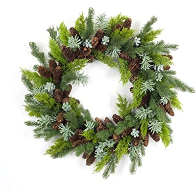 """Diva At Home 30"""" Green and Brown Artificial Mixed Pine and Succulent Christmas Wreath"""