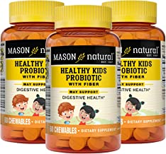 Mason Natural Healthy Kids Probiotic with Fiber Immune/Digestive Support, 60 Chewable Tablets, 3 Count