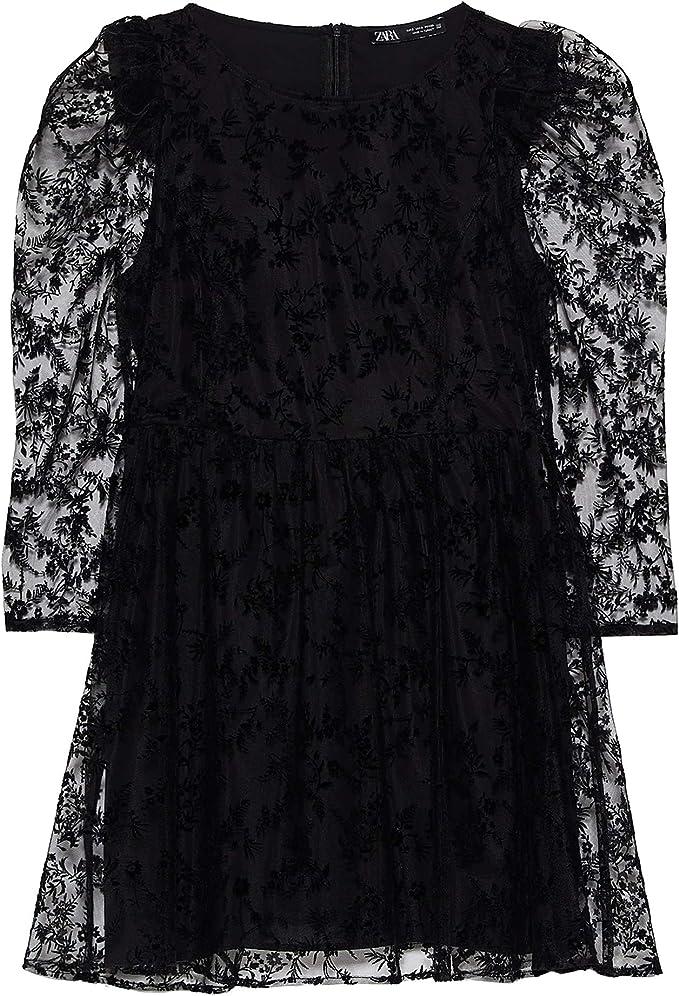 Zara 3564/185/800 - Vestido de Tul para Mujer Negro XS ...