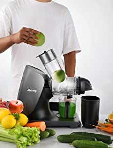JOYOUNG Juicer Machines with Upgraded Ceramic Auger Masticating Juicer up to 90% Juice Yield, Slow Juicer 3in Big Feed Chute, BPA Free, Easy to Clean