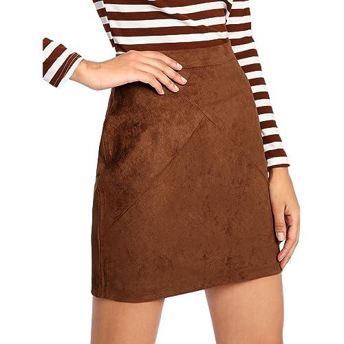 06930cb193 MAKEMECHIC Women's Zipper Back A-line Bodycon Mini Faux Suede Skirt