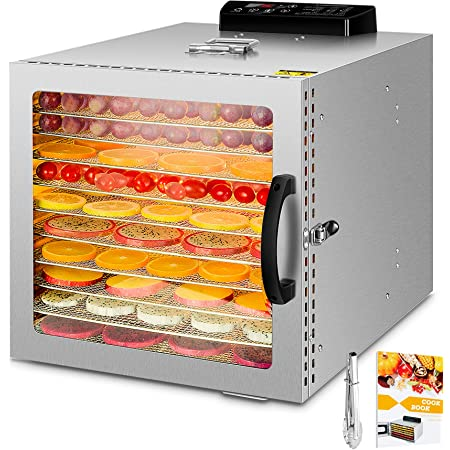 1000W Déshydrateur alimentaire à 10 bacs avec et lumière chaude, thermostat 30-90 ° C, minuterie 24 heures, déshydrateur pour fruits, légumes, viandes, faible consommation d'énergie, sans BPA