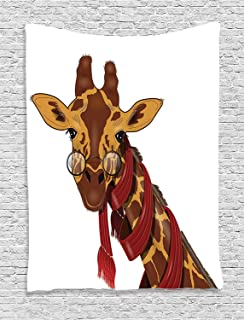 Ambesonne Cartoon Decor Collection, Giraffe Wearing Glasses in a Red Scarf Educated Smart Looking Fun Image, Bedroom Living Room Dorm Wall Hanging Tapestry, Peru Sienna Red